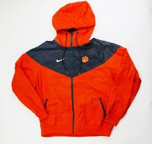 Nike Clemson Tigers Sideline Windbreaker Football Jacket Men's L Orange DH3777