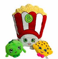 "Shopkins Plush Lot Of 3 Poppy Corn Pillow Apple Blossom Kooky Cookie 6"" 19"""