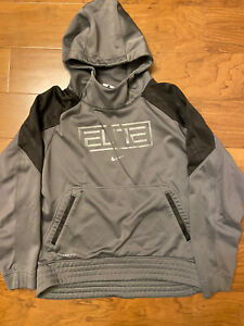 Boys' Nike Elite Dri Fit Hoodie Size Large Gray
