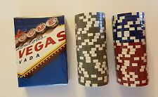 New Las Vegas Clay Casino Poker Gaming Chip & Playing Card Lot Red Blue Silver