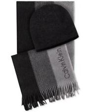 Calvin Klein Hat And Ombre Scarf Set Black Grey Mens OSFA New