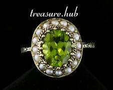 C827 Genuine 9K 9ct Gold Natural PERIDOT & PEARL Cluster Ring made in your size