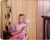 FOUND PHOTO Color A LITTLE GIRL AND HER DOLL Original Snapshot VINTAGE 02 27 A