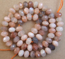"""5x8MM Natural Multicolore Sunstone Faceted Rondelle Loose Beads 15"""""""