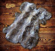 Shag Sheepskin Rug Light Gray Raccon Skin  Pelt Throw Faux Fur Accents