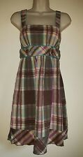 LADIES TEEZE ME BROWN YELLOW PINK BLUE CHECK PRINT COTTON DRESS UK 6 EU 34 USA 2