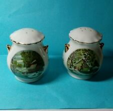 VINTAGE CERAMIC SALT AND PEPPER SHAKERS GOLD TRIM  PAINTINGS OF CABINS