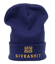 Winter Beanie Hat Giveashit Men Ladies Knitted Woolly Oversize Slouch Warm Cap