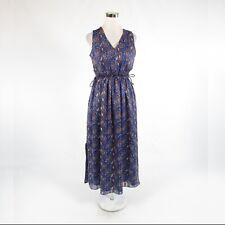 Dark blue brown paisley BANANA REPUBLIC sleeveless A-line dress PS