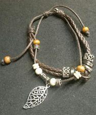Lederarmband geflochten braun ~ Doppelreihig ~ mit verschiedenen Perlen & Beads