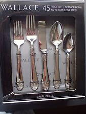 NWT Gorgeous WALLACE SWIRL SEA SHELL Pattern (Retired) 45 Piece 18/10 Stainless!