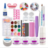 Nail Beginner Art Tool Kit Acrylic Powder Liquid Nail Art Brush Glue UV Tips Set