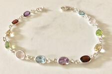Sterling Silver Multi Gemstone Bracelet Topaz Citrine Amethyst Garnet Peridot