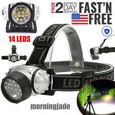 Waterproof 14x Lamp LED Headlamp Flashlight Head Torch Light Adjustable Headband
