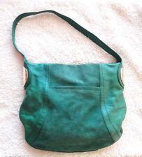 B Makowsky Green Suede Handbag - Leather Hobo Purse Gold Hardware Leopard Lining