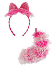 DISNEY CHESHIRE CAT HEADBAND EARS AND TAIL ALICE IN WONDERLAND COSTUME EARS PINK