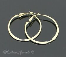 GORGEOUS YELLOW GOLD PLATED FLAT HOOP LADIES GIRLS ROUND CIRCLE EARRINGS