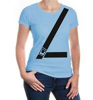 Damen Kurzarm Girlie T-Shirt Anschnallgurt Hund Kinderwagen Babysitz Sicherheit