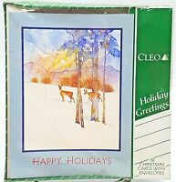Christmas Happy Holiday Cards Deer in Snow Watercolor Design 18 count New