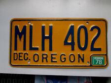 ANCIENNE PLAQUE MINERALOGIQUE USA OREGON 1978 LICENSE PLATE 78