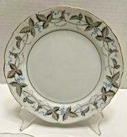 "4 Harmony House China 7 1/2"" Salad Plates, VTG Pattern, Dawn Gray, Horizon Blue"