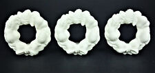 3 Partylite Taper Candle Ornaments Wreath Porcelain Bisque Christmas Holiday