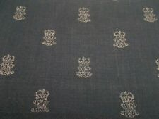 Zoffany Curtain/Upholstery Fabric 'END PAPER' 3 METRES Indigo/Stone 100% Linen