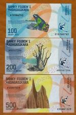 SET Madagascar, 100;200;500 Ariary, 2017 P-97-98-99 UNC > Completely Redesigned