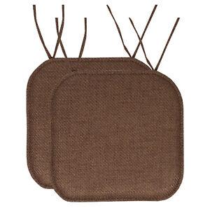 Herringbone Memory Foam 16 x 16 Chair Pad With Ties Taupe 2 Pack