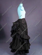 Black Edwardian Gothic Victorian Vintage Bustle Skirt Steampunk Wear N K034 XL