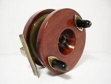 """Vintage Antique Milward's 4 1/2"""" Wooden Brass Nottingham Fishing Reel"""