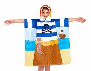 Kids Hooded Poncho Towel Boys Girls Pirate Theme