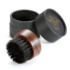 BFWood Beard Brush Boar Bristles Small Round Shape - Black Walnut Mens Gift UK