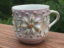 Ornate Porcelain Mustache Cup Raised Floral & Bead Decoration with Gold Trim