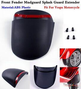 1Pc Black Motorcycle ABS Front Fender Mudguard Splash Guard Extender For Vespa