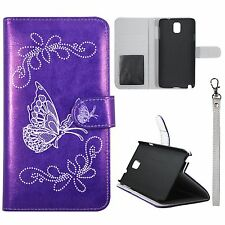For Samsung Galaxy Note 3 Silver Butterfly on Purple PU Leather Case Cover R33
