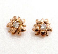 Women Lady New Studs Earrings Rose Gold Plated Simulated Diamond Flower From UK