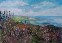 Robin Hood's Bay, Heather.PLEIN AIR OIL PAINTING.Original,signed.Impressionism.