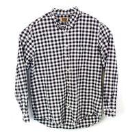 FOUNDRY Mens Sz XLT Black White Plaid Long Sleeve Button Down Casual Shirt