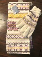New JOE BOXER 2 PC SET Women's Winter Knit SCARF GLOVES  Ivory Purple