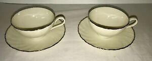 Two Weatherly Platinum Cups and Saucers - Lenox Made in USA