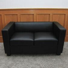 2er Sofa Lille, Couch Loungesofa, Leder schwarz