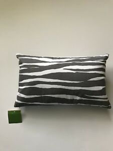 Kate Spade Throw Accent Pillow Zebra Stripe Oblong Gray Charcoal White Dorm