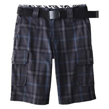 "SHAUN WHITE GRAY BLUE NASSAU NIGHT PLAID BOY'S 22""/4 CARGO BELT SHORTS NEW!"