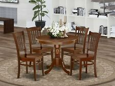 5pc Antique dinette set round pedestal kitchen table with 4 wood chairs mahogany