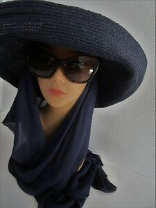 Kokin Navy Blue Silk Scarf Hat Wide Floppy Breton Brim Sun Shade Church Wedding