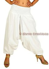 Women White Cotton Harem Pants Baggy Yoga Beach Aladdin Genie Trouser Hippie