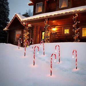 8pcs Christmas Pathway Candy Cane Light Solar Powered Street Lamp Outdoor Decor