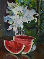 White lilies Still life watermelon flower by AVDEEV Original oil Painting RUSSIA