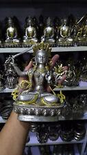 Collection Tibet Silver Copper Gilt White Tara Buddha Buddhism Statue 0002